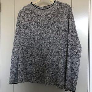 H&M basics thick knit white and black sweater